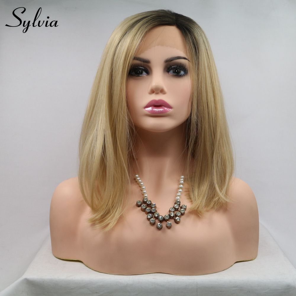 Sylvia Bob Wig Short Hair Blonde Synthetic Lace Front Wig With Dark Root Straight Bob Wigs