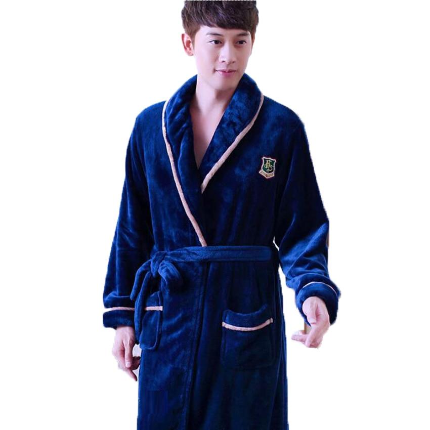 Thick Coral Fleece Bathrobe For Men Women Long Kimono Homme Winter Warm Bath Robe Male Nightgown Nighties Casual Home Clothing
