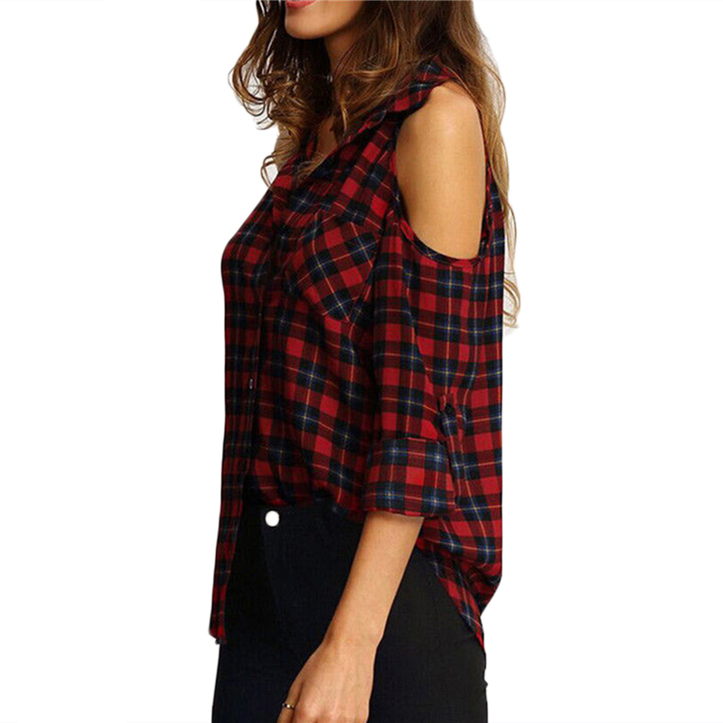 16de302ac5834a New Women ladies sexy off shoulder shirts fashion autumn long sleeve plaid  turn-down collar