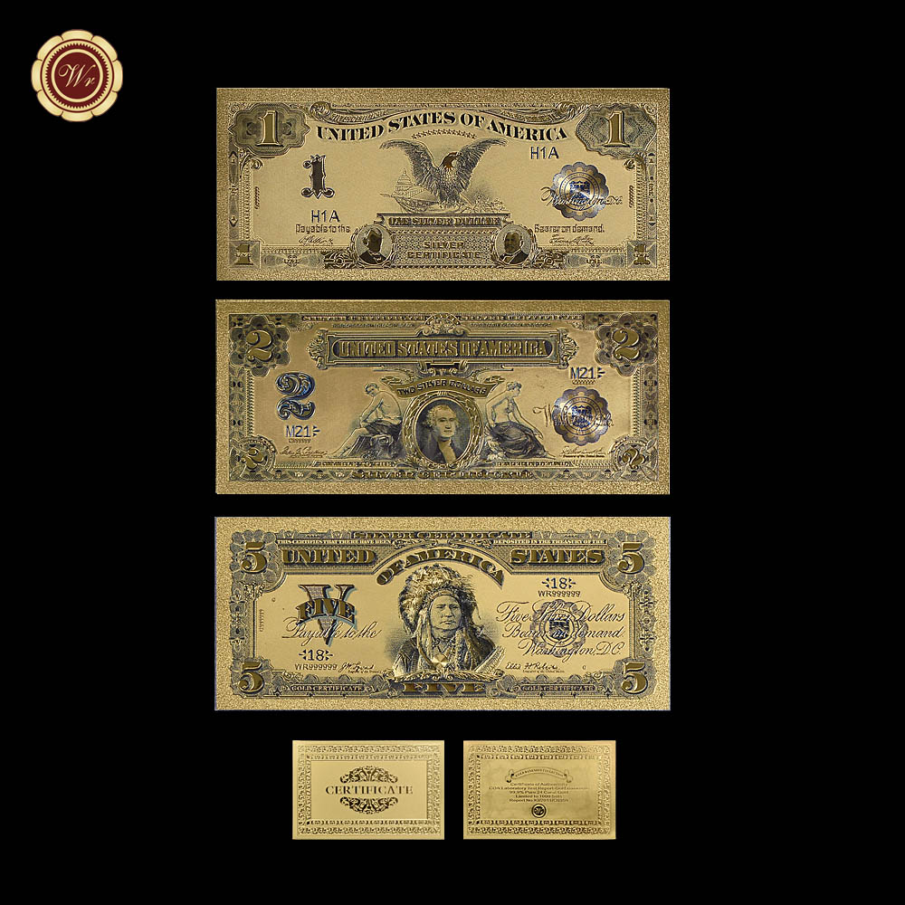 1899 USD 1 2 5 цветные золотые банкноты 3 шт набор 24K Золотая фольга поддельные бумажные банкноты для украшения дома коллекции