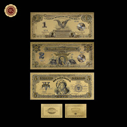 1899 долларов США, 1, 2, 5 цветных золотых банкнот, 3 шт. в комплекте, 24K, Золотая фольга, искусственная бумага, денежные купюры для искусственных д...