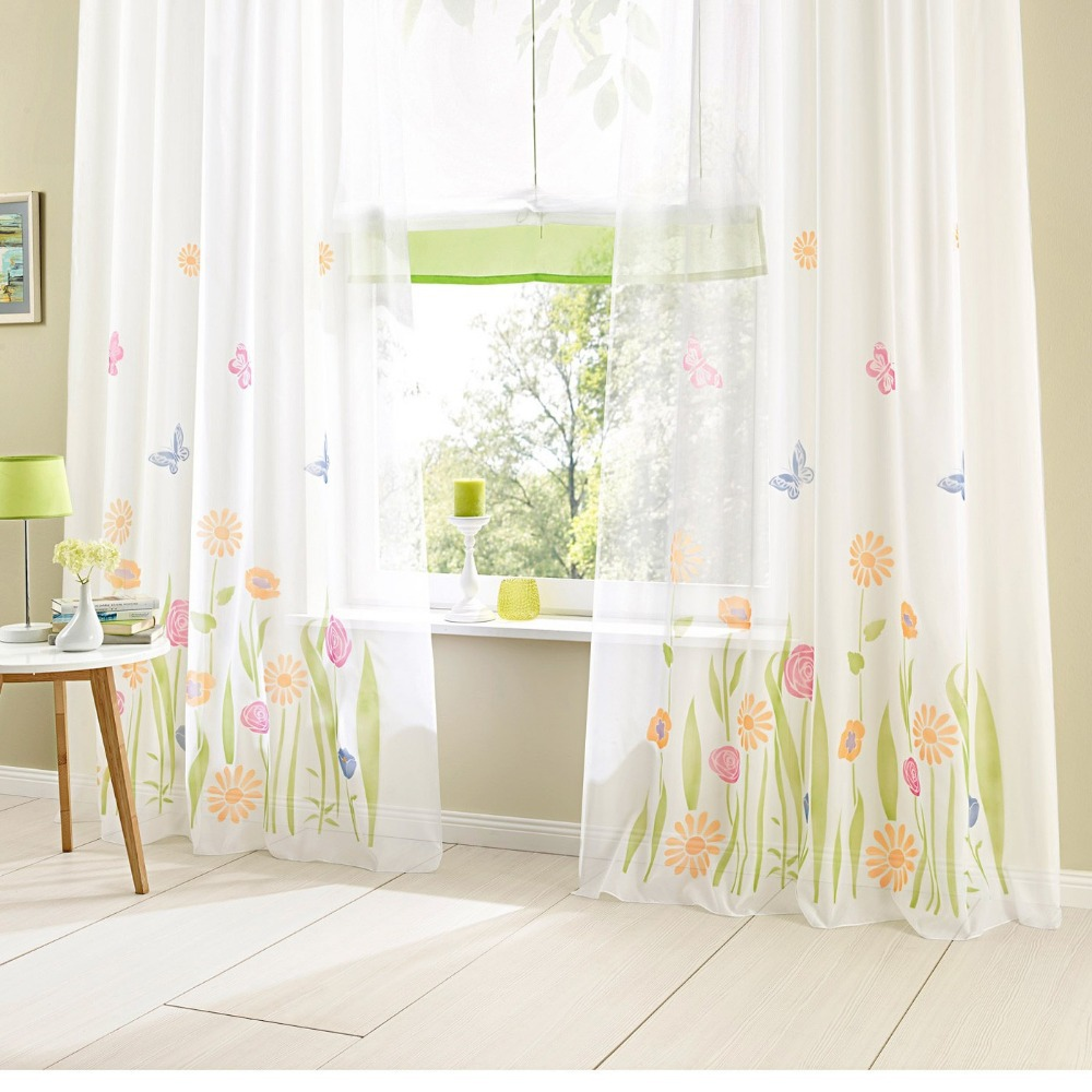 Moda tulle para la ventana gasa translucidus cortina para la cocina ...