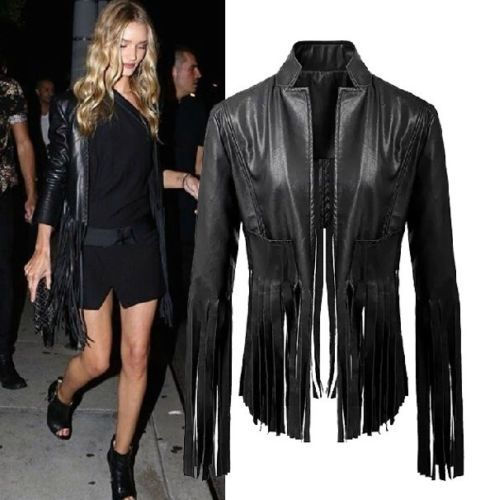 Autumn Fashion Women Black V neck Faux Leather Tassel Irregular Fringed Cardigan Short Jacket Casual Outwear Blouse Top - Sexy Woman Line store