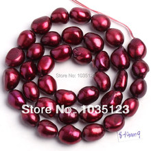 High Quality 8-9mm Deep Red Natural Freshwater Cultured Pearl Freeform Shape Loose Beads 35-38cm W192