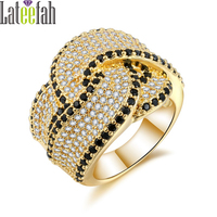 Lateefah Victoria Wedding Ring for Jewelry Collection Pave Cubic Zirconia Knot Shape Gold Color Cocktail Ring Anel Bague