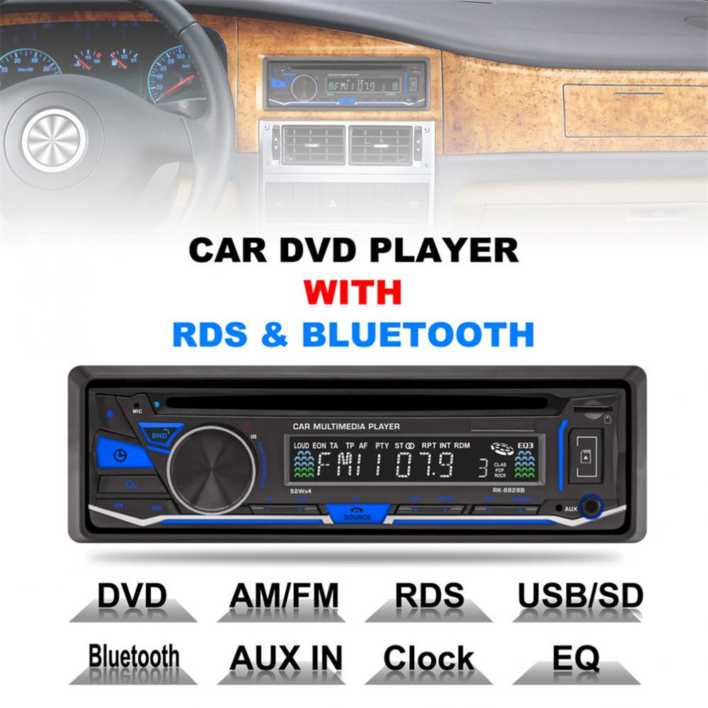 12 v 1 Din Bluetooth Supporto Auto lettore DVD VCD/SD/USB/AUX Built-In AM/FM /RDS Radio Stereo