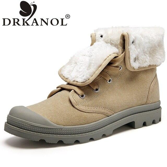 Новый осень зима мужчины сапоги плоский каблук теплые ботильоны мужчины круглый носок мартин сапоги botas хомбре высокий верх холст случайный обувь