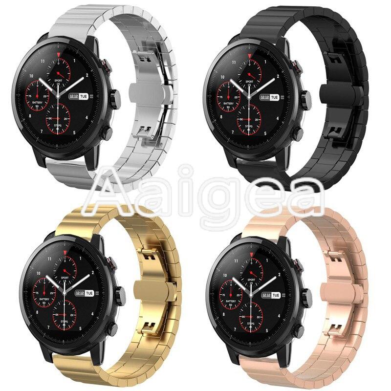 Acier inoxydable de Courroie De Bande Pour Huami Amazfit Strato Sport Montre 2 Prime Classique Montre Smart Watch Métal Remplacement Poignet bandes
