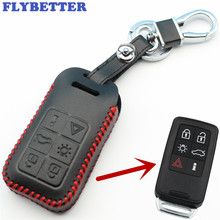 FLYBETTER Genuine Leather 6Button Smart Key Case Cover For Volvo S60/S80/V60/XC60/XC70 Keyless Entry Car Styling L2006
