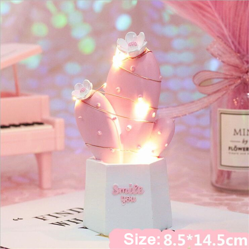 Ins Resin 3D Cactus Romantic Pink Green Night Light Battery Power Home Decorative Table Lamp For Crafts Home Decoration Lighting in LED Night Lights from Lights Lighting