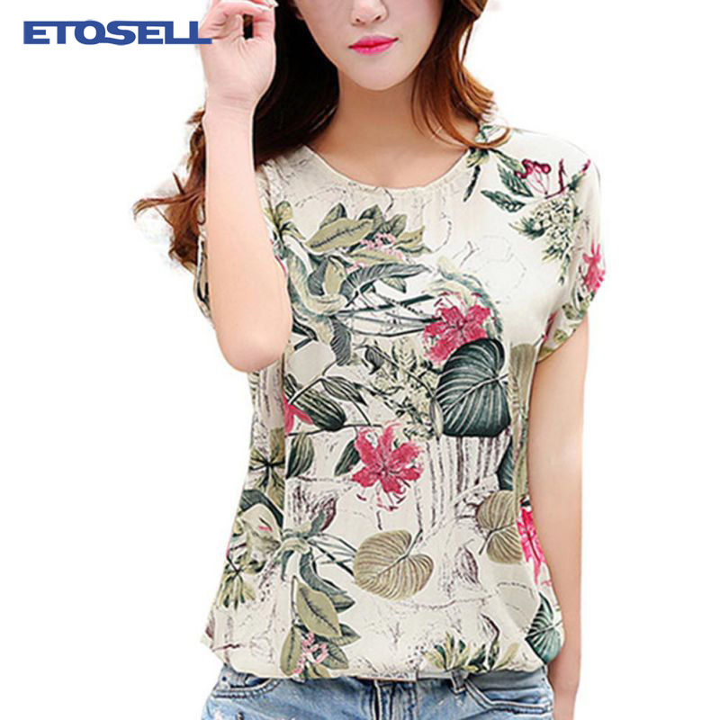 Casual Loose   Blouse     Shirt   Fashion Korean 2019 New Blusas Floral Print Women's Chiffon   Blouses   Ladies   Shirts   Summer Tops 2XL