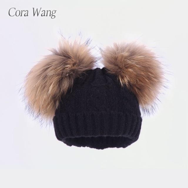 841b26f4abc Cora Wang Kids Pom Pom Wool Knitted Winter Caps Beanies For 1-5 Baby Boys  Girls Dual Fur Ball Children s Warm Pompom Hat Bon