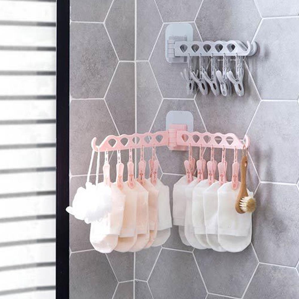 10 Clips Folding Socks Underwear Bra Drying Rack Laundry Hanger Rack Drying Shelf Delicious In Taste