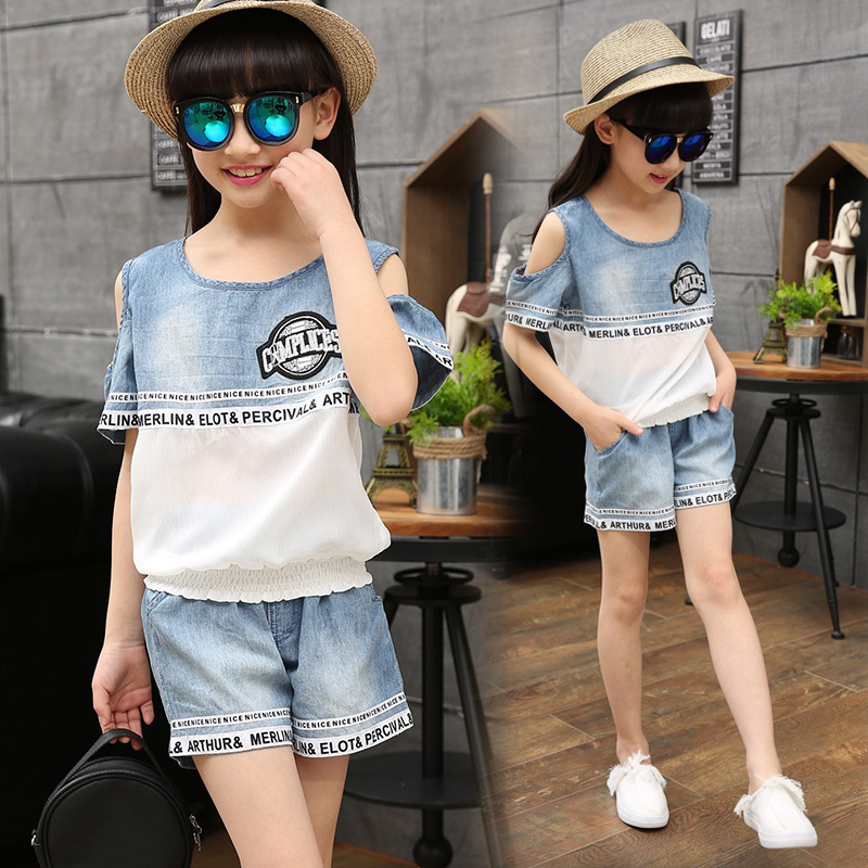 Summer Girls Cartoon Denim Shorts Suits Denim Jeans Cowboy Clothes Girls Clothing Sets Girl Suits Kids Clothing Sets 2Pcs YL584