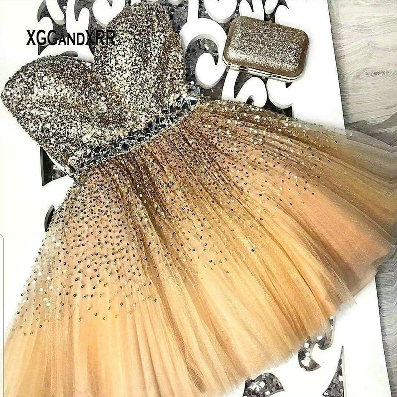 Sexy Sweetheart Champagne Short Prom Dress 2019 Sparkly Short Beads Sequin Evening Dress Women Formal Party Gowns Gala Dress