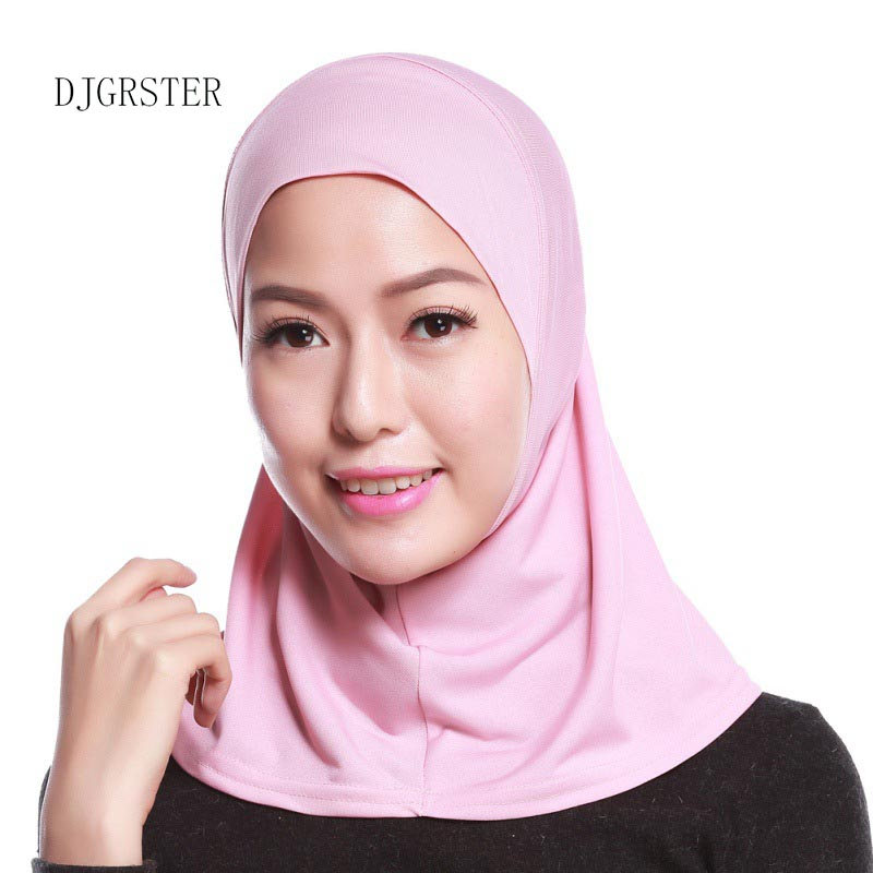 DJGRSTER 2019 Newest Summer Style Fashion Islamic Turban Head Wear Hat Underscarf Hijab Full Cover Inner Muslim Cotton Hijab Cap