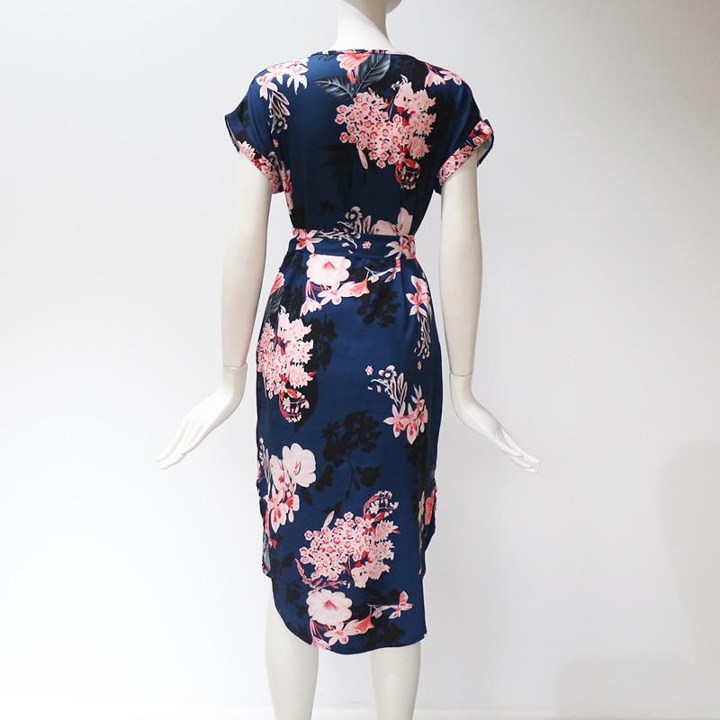 Midi Party Dresses Geometric Print Loose Batwing Sleeve Dress 35