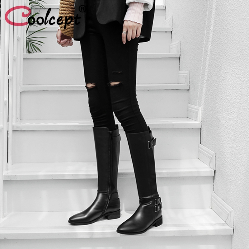 Coolcept Women Flats Boots Real Leather Shoes Women Metal Buckle Winter Fur Knee Boots Fashion Classic Knight Boots Size 33-43 coolcept size 34 43 fashion rusia women winter snow botas flats boots cross strap short boots with fur shoes for women footwears