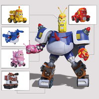 5 in 1 Set Robot cartoon Larva fun figures toys transformation mecha Voltron Car Children Birthday Gift For Kids