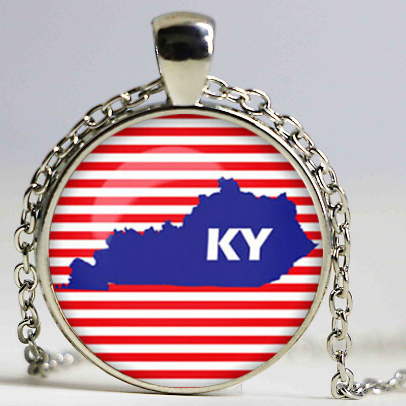 Kentucky map Necklace Kentucky map Pendant US states maps Glass Dome Pendant Necklace ...
