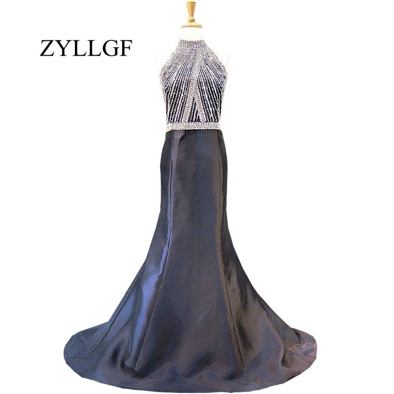 ZYLLGF longue robe De soirée perlée en cristal véritable col haut robe De soirée sirène noire Bestidos De Fiesta Largos RS45