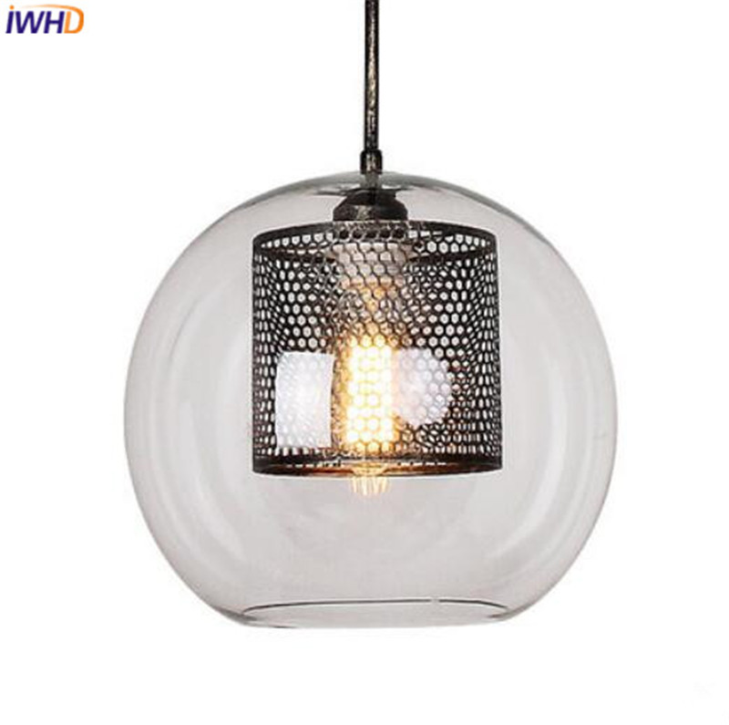 IWHD Nordic LED Pendant Lights Glass Lampshade Retro Loft Hanglamp Simple Suspension Luminaire RH Droplight Home Lighting iwhd vintage industrial loft led pendant lights nordic retro pendant lamp rh wooden e27 3 droplight fixtures for home lighting