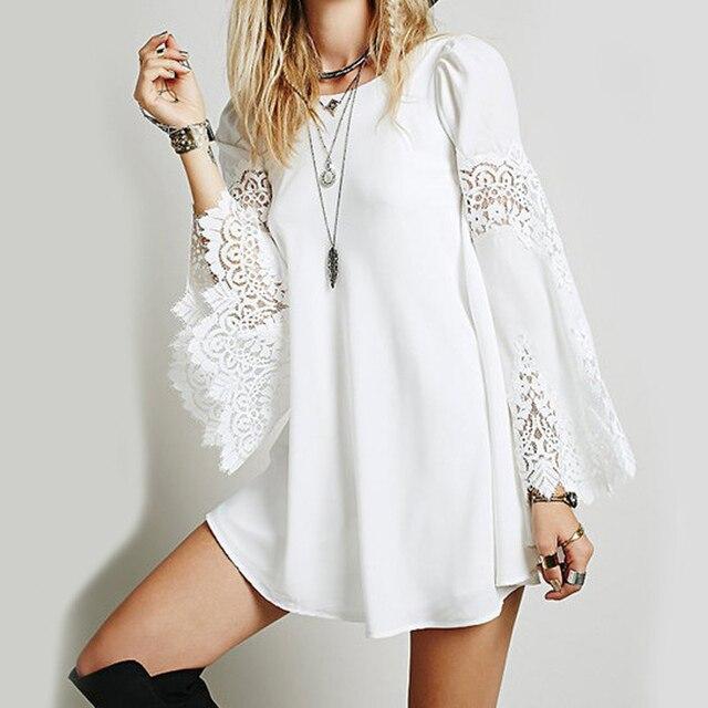 de2c05444 Lato kobiet luźna z długim rękawem koronkowe sukienki szydełka Hollow Out  Mini sukienka biały moda seksowna