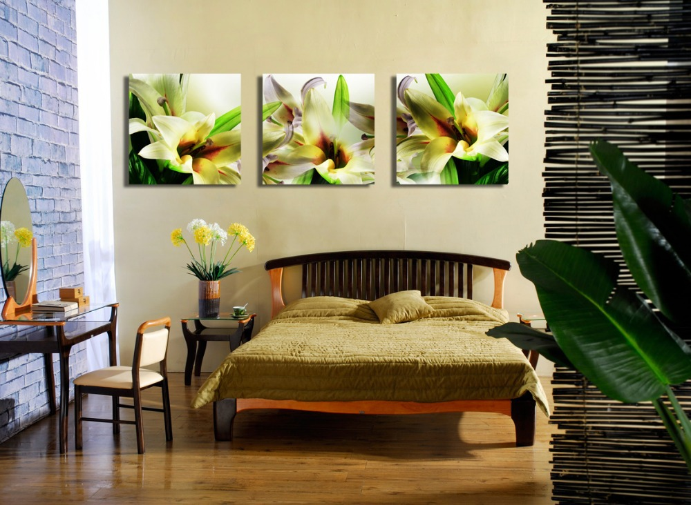 Free shipping 3 pieces realist yellow lily flowers print canvas ...