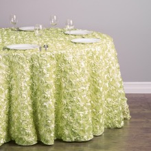 HK DHL Polyester 300cm Round Rosette Tablecloth Tea Green for Banquet, 20/Pack