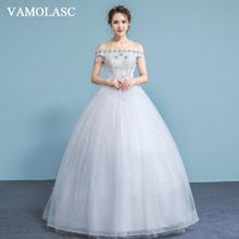 VAMOLASC Crystal Boat Neck Ball Gown Lace Appliques Wedding Dresses Tassel Beading Short Sleeve Backless Bridal Gowns