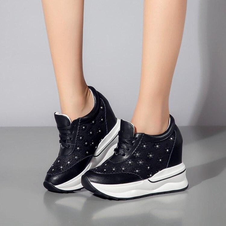 Cuero Casuales Deporte Moda Genuino Mujeres Aumento Zapatos Mujer Las Tobillo Altura Botas De {zorssar} Plataforma Negro Zapatillas blanco Cuñas 4CZqwvvH