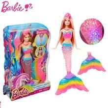 Original Barbie Brand Mermaid Doll Feature Rainbow Lights The Girls Toys For Chilren A Birthday Present Gift Boneca