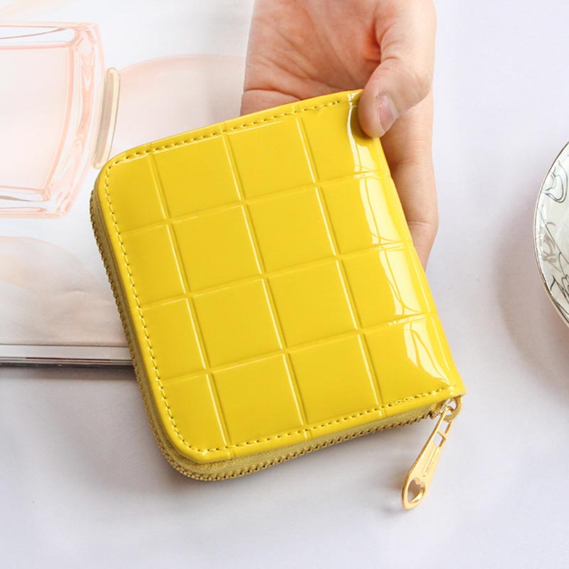 Patent Leather Women Short Wallets Ladies Small Plaid Wallet Zipper Coin Purse Female Credit Card Wallet Purses Money Bag 40 hot sale owl pattern wallet women zipper coin purse long wallets credit card holder money cash bag ladies purses