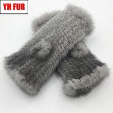 Guantes de piel de visón Real para mujer, guantes de piel de visón Real sin dedos, elásticos, de punto genuino, para invierno