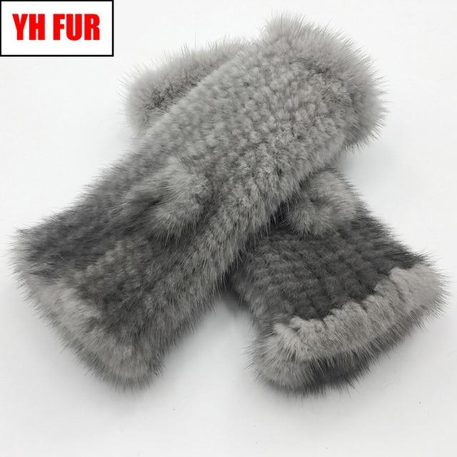 Winter Real Mink Fur Gloves Women Real Mink Fur Fingerless Gloves Women Fashion Elasticity Genuine Knitted Real Mink Fur Mittens