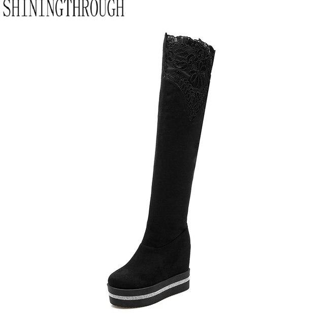 2018 Nouveau léopard genou haute bottes nouvelle arrivée femmes bottes plate,forme  bottes talons hauts