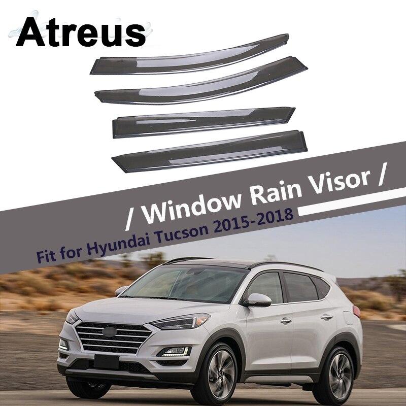 Atreus 4pcs For Hyundai Tucson 2015 2016 2017 2018 Car Accessories Door Smoke Window Sun Rain