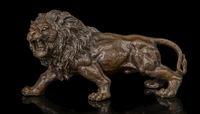 Copper Brass crafts ation Asian Brass Art Gifts, Office decoration of the fierce Lion Sculpture Bronze animal Abstract Statue