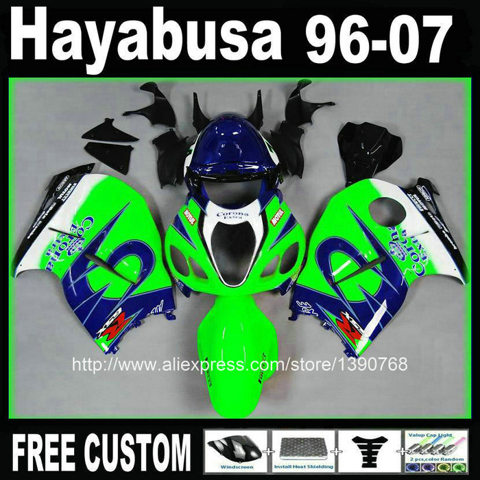 ABS  for SUZUKI Hayabusa fairing kit GSXR1300 96-07 blue green Corona fairings set GSX1300R 1996-2007 FF94