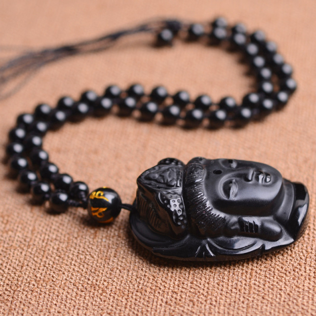Natural Black Obsidian Buddha Necklace 2