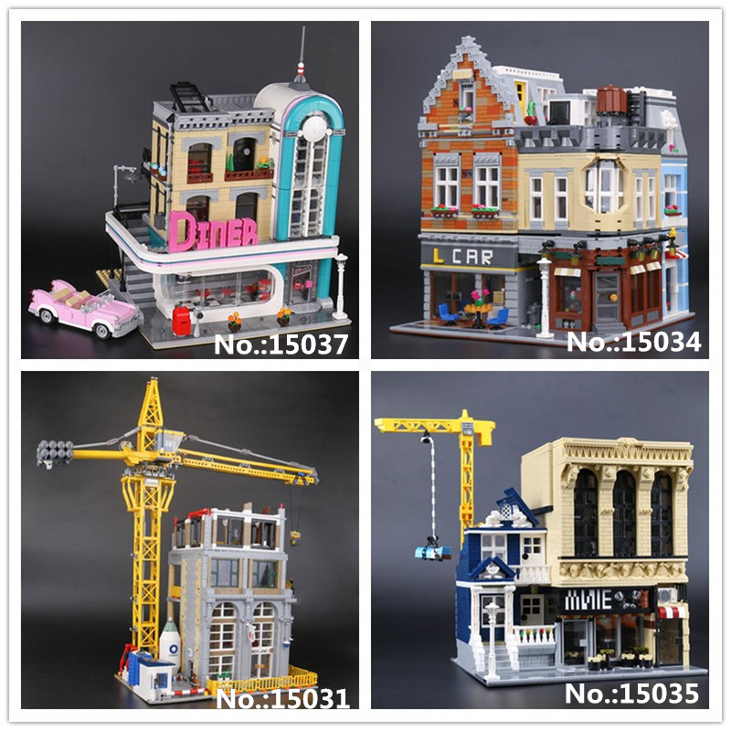LEPIN 15031 Classic Construction site 15034 New Building 15035 Bars and Financial Companies 15037 Downtown Diner Building Block feel and find fun building site