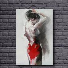 Sexy Woman in Red Dress Oil Painting Decorative Pictures for Home Amazing Handwork Oil Canvas Painting for Living Room Decor Art(China)