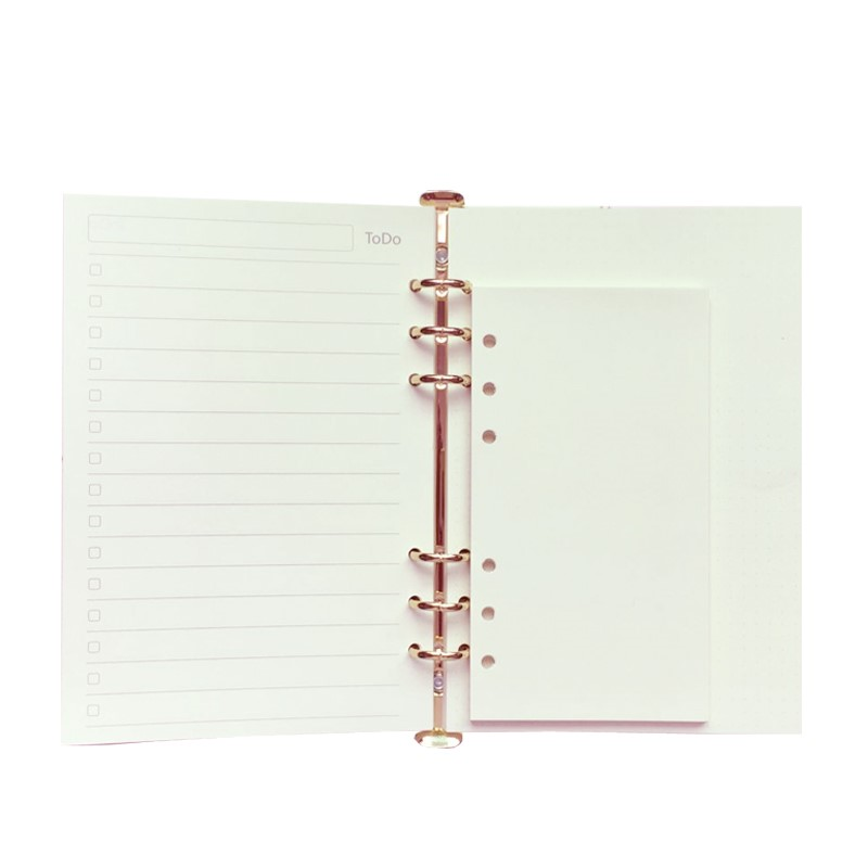 A5 A6 Loose Leaf Notebook Refill Spiral Binder Planner Inner Page Inside Paper Dairy Weekly Monthly Plan To do Line Dot Grid standard a5 style leather notebook inside loose leaf page have 6 hole on page paper insde 60 pcs quality kraft blank page page 6