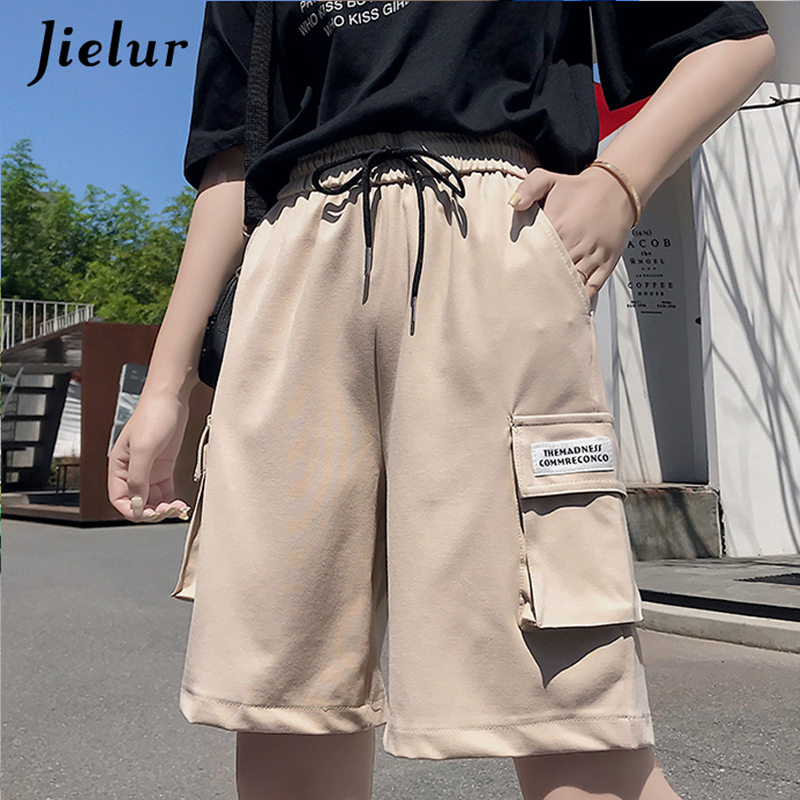 Jielur Black Shorts Cargo Street Femme Korean Summer Women Casual New Cool Pockets Loose
