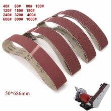 Paquet de 10 686*50mm bandes abrasives 40 1000 grain oxyde daluminium ponceuse bandes abrasives