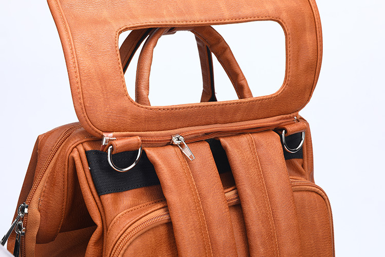 HTB1v0djLPDpK1RjSZFrq6y78VXaH New Unisex Fashion Quality PU Leather Baby Diapers Bag Backpacks Maternity Changing Pad Stroller Straps Baby Bags Water Proof