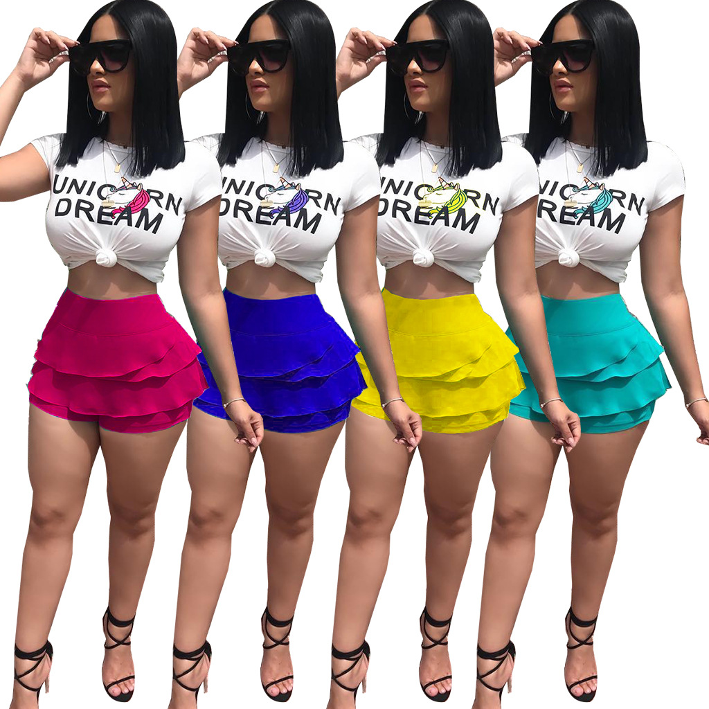2018 New Arrival High Fashion Casual 2 piece Set Women Solid Letters Unicorn O-Neck Short Sleeve Ruffles Shorts Bodycon Set