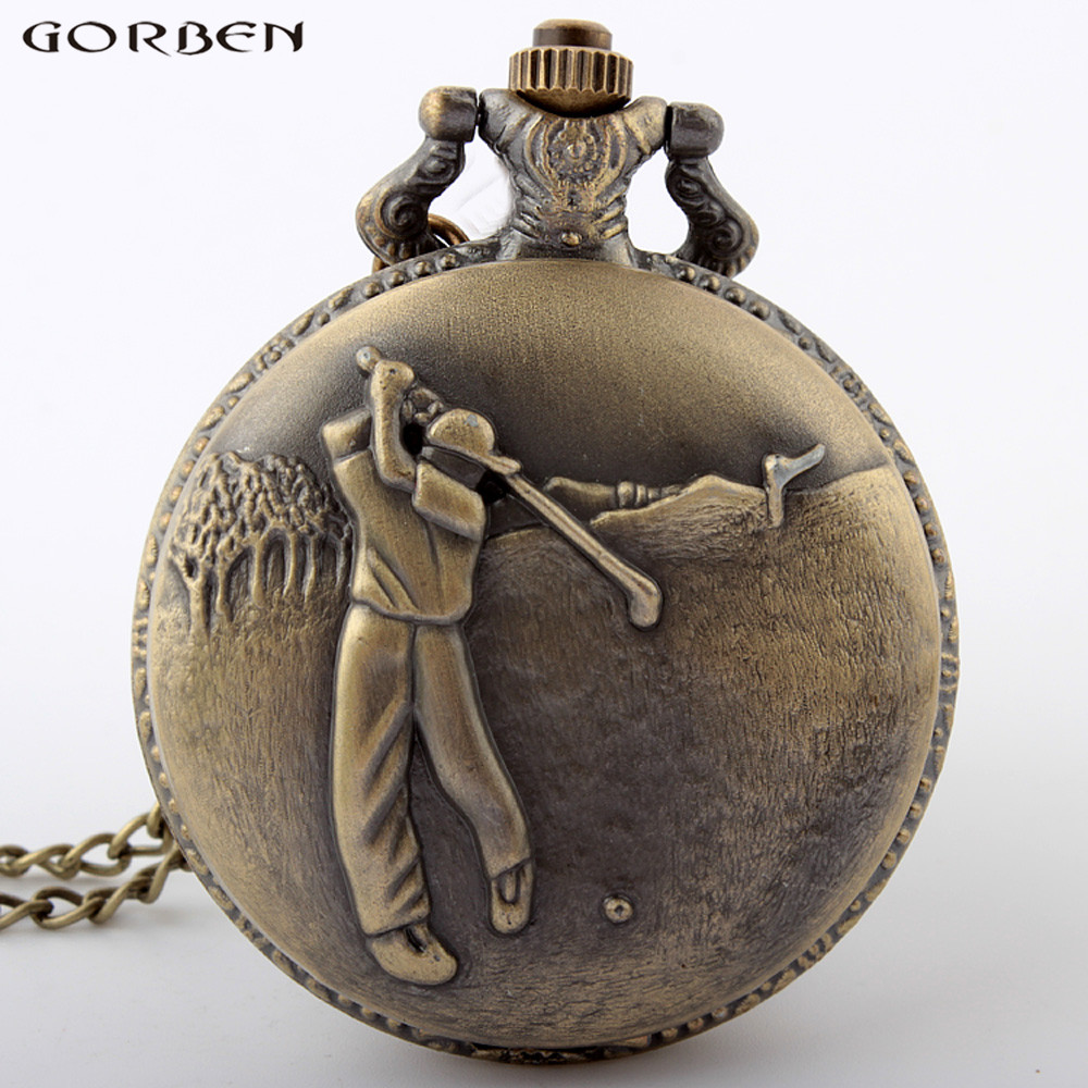 New Design Bronze Play Golf Quartz Pocket Watch Retro Style Casual Men Women Pocket Watch Best Gifts Chain Necklace Pendant P291