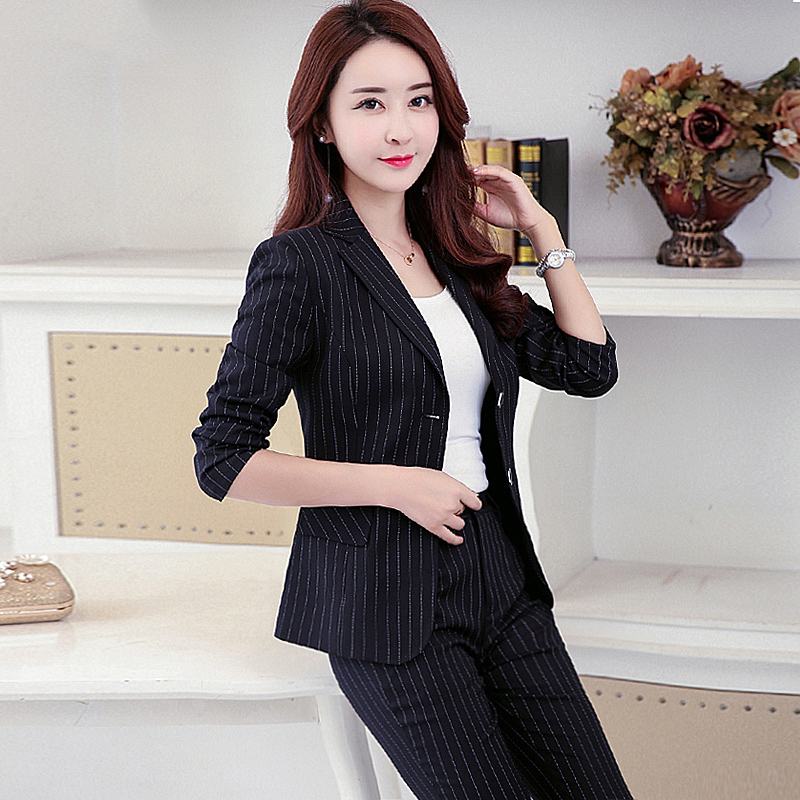 High quality suit female 2018 spring new striped suit business dress work clothes long sleeve professional set fashion two-piece
