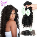 3 Bundles Deep Wave With Closure 8A Unprocessed Indian Hair Bundles With Closure Raw Indian Curly Hair With Closure